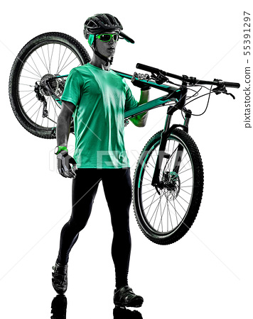 tenager boy mountain bike bking isolated shadows 55391297