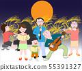 가을 밤에 가족 음악회를 열고있다. 55391327