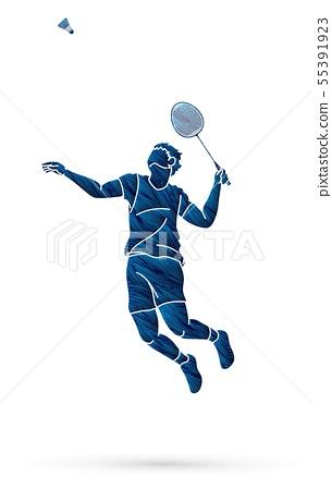 Badminton player action cartoon graphic vector. 55391923