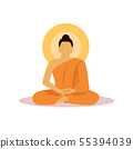 Buddhist monk in meditation in flat design vector. 55394039