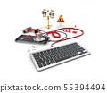 Stethoscope lying with keyboard 55394494