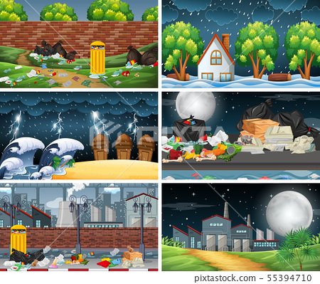 Set of polluted scenes 55394710