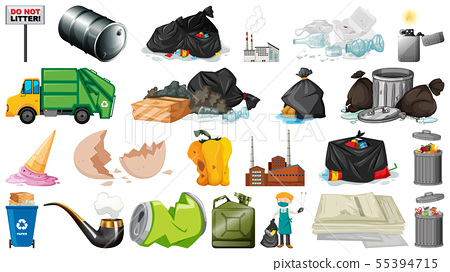 Pollution, litter, rubbish and trash objects 55394715