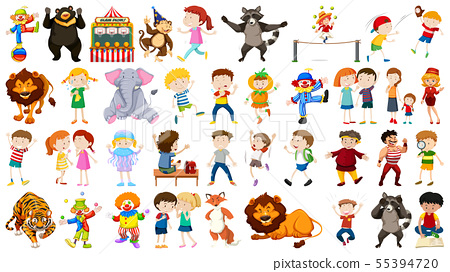Huge circus collection with mixed animals, people, 55394720