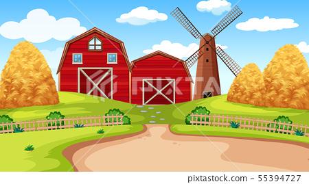 Farm scene in nature with barn 55394727
