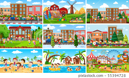 Set of scenes in nature setting 55394728