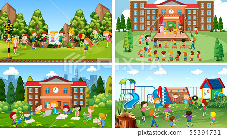 Set of scenes in nature setting 55394731