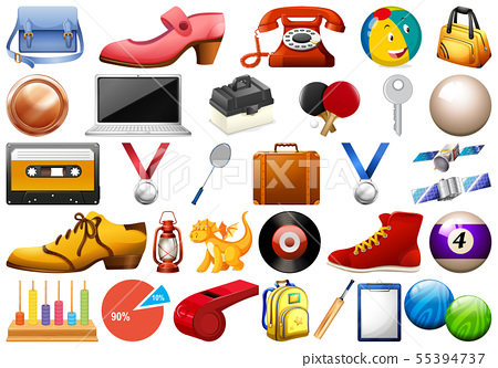 Assorted office and household equipment isolated 55394737