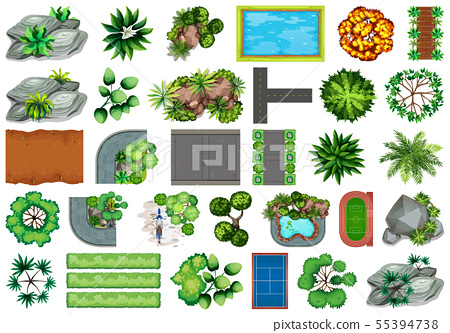 Collection of outdoor nature themed objects and 55394738