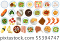 Food collection on white background 55394747