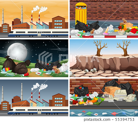 Set of polluted scenes 55394753