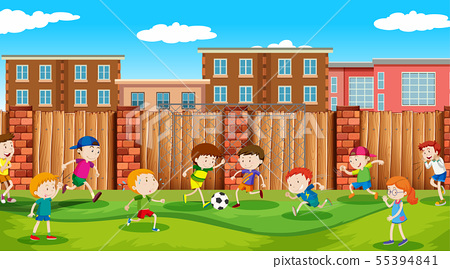 Active boys and girls playing sport and fun 55394841
