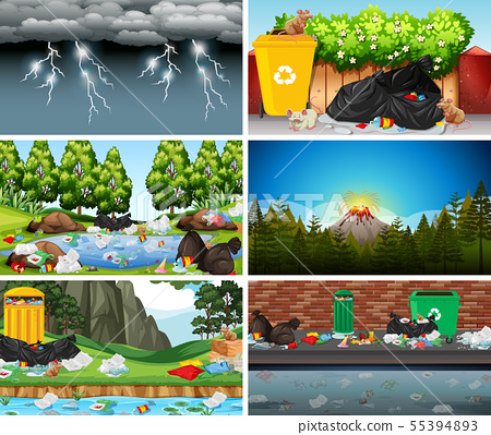 Set of polluted scenes 55394893