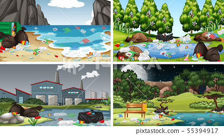 Set of polluted scenes 55394917
