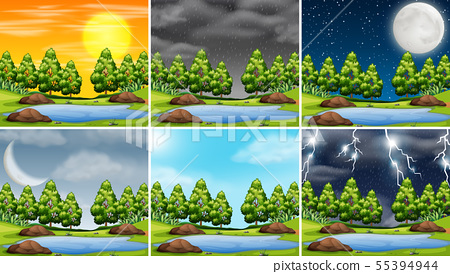 Stormy weather in natre scene 55394944