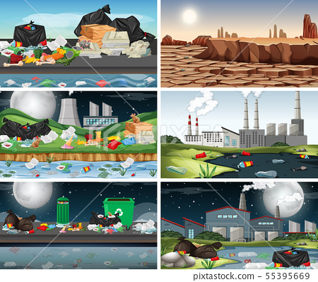Set of polluted scenes 55395669