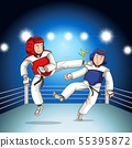 Two boys fighting judo wrestling on sport 55395872