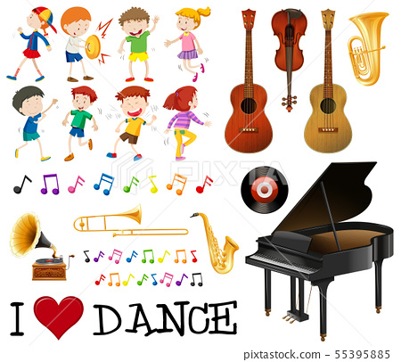 Musical instrument pack with kids singing, dancing 55395885