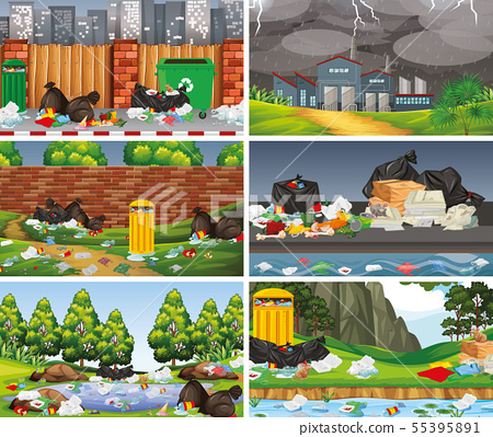 Set of polluted scenes 55395891