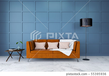 Brown Leather Sofa With Light Blue Wall