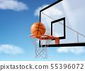 Basketball ball falling into ring net at backboard 55396072