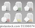 Tea bags set isolated on grey background, teabags 55396074