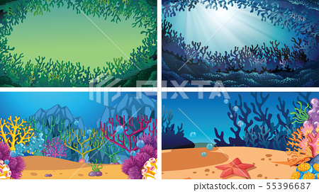 Set of underwater coral scenes 55396687