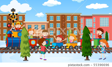 Active kids playing in outdoor scene 55396696