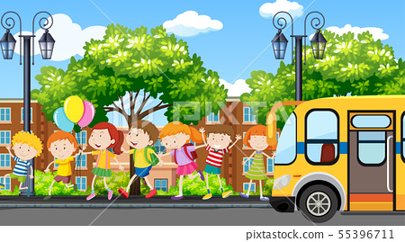 Active kids playing in outdoor scene 55396711