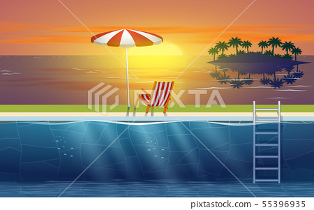 landscape of swimming pool on the beach in sunset 55396935