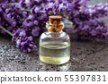 A bottle of lavender essential oil 55397831