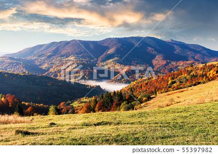 beautiful autumn morning scenery in mountains 55397982