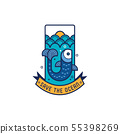 Save the ocean icon with fish, vector illustration 55398269