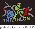 Triathlon racers and sign triathlon.  55398335
