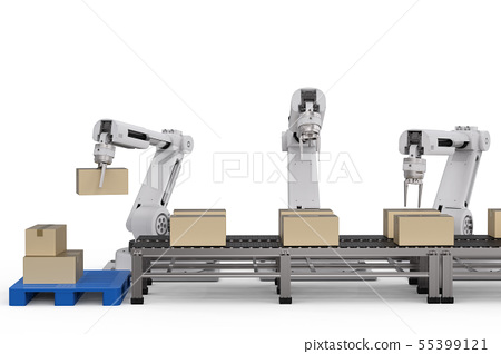 robot arms working with cardboard boxes 55399121