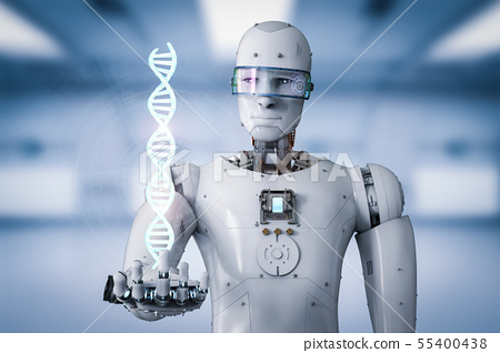 android robot holding dna helix 55400438