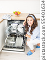 Young woman using a dishwasher in her modern 55401634