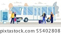 Passengers Waiting Bus on City Bus Stop Vector 55402808