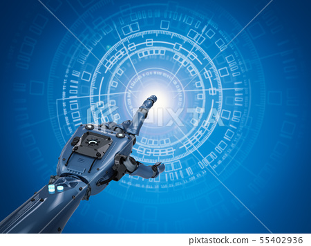 robotic hand working with virtual graphic 55402936