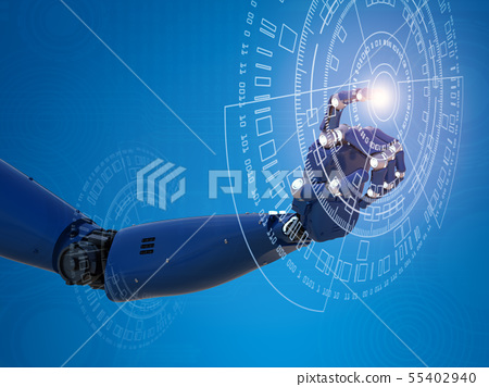 robotic hand working with virtual graphic 55402940