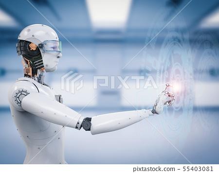 robot working with virtual display 55403081