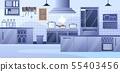 Modern Restaurant Kitchen Interior Flat Vector 55403456
