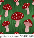 Seamless pattern with red hat amanita mushrooms 55403749