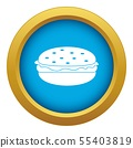 Burger icon blue vector isolated 55403819