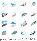 Seafarer icons set, isometric style 55404236