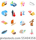 Sea route icons set, isometric style 55404356