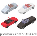 Cabriolet car icons set, isometric style 55404370