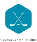 Ice hockey sticks icon, simple style 55408080