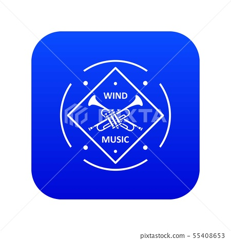 Musical trumpet icon blue vector 55408653
