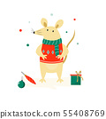 Christmas Cute funny mouse in sweater 55408769